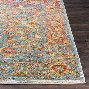 GAELAN RUG: AQUA, YELLOW