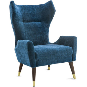ISAAC WING CHAIR: NAVY VELVET