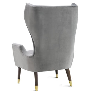 ISAAC WING CHAIR: GRAY VELVET