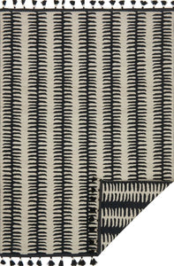 KODI REVERSIBLE TASSEL RUG: BLACK + GREY