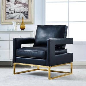 LAURENT BLACK LEATHER ARM CHAIR