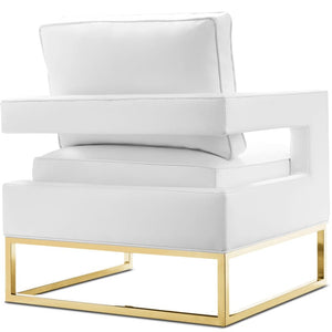 LAURENT WHITE LEATHER ARM CHAIR