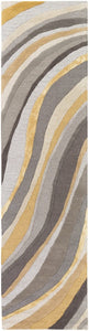WAVES WOOL + VISCOSE RUG: GOLD, GRAY
