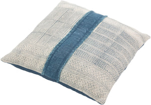 KELSI BLOCK PRINT DENIM PATCH PILLOW