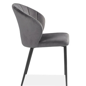 MAGS CHARCOAL VELVET DINING CHAIR