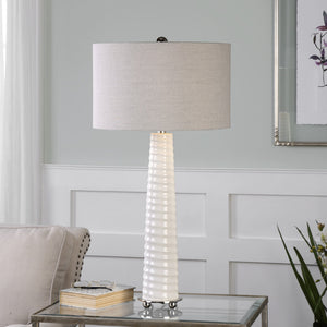MALONE GLOSS WHITE GLASS LAMP