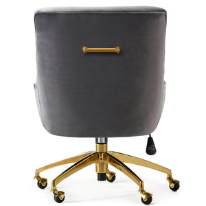 PIPER GRAY VELVET SWIVEL OFFICE CHAIR