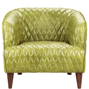 MAGDELAN TUFTED LEATHER ARM CHAIR: GREEN