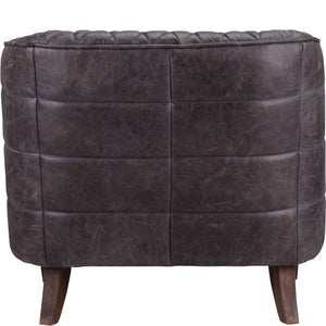 MAGDELAN TUFTED LEATHER ARM CHAIR: ANTIQUE BLACK