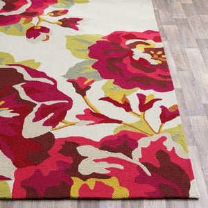 IN BLOOM OUTDOOR RUG: GARNET, IVORY