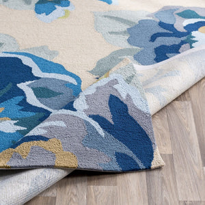IN BLOOM OUTDOOR RUG: BLUE, KHAKI
