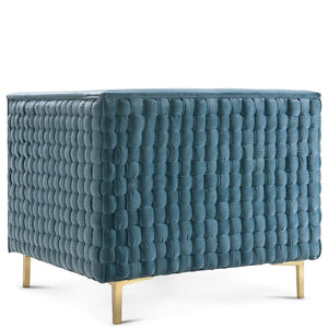 RIGBY SEA BLUE VELVET WOVEN BACK CHAIR