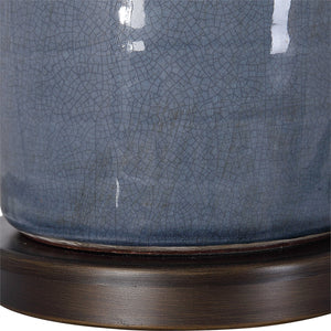 RONA DISTRESSED SLATE BLUE CERAMIC TABLE LAMP