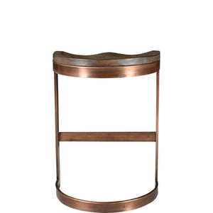 SADDLE WOOD + COPPER COUNTER STOOL