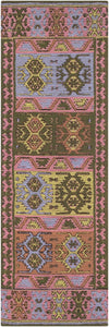 RAJANI OUTDOOR KILIM: ROSE, GREEN