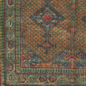 AMRA PRINTED JUTE RUG: EMERALD, ORANGE