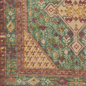 AMEL PRINTED JUTE RUG: EMERALD, ORANGE