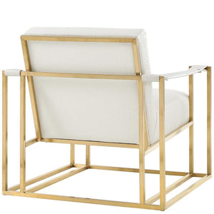 STANFORD ARM CHAIR: IVORY ECO LEATHER, GOLD