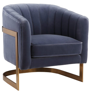 STEELY VELVET CLUB CHAIR