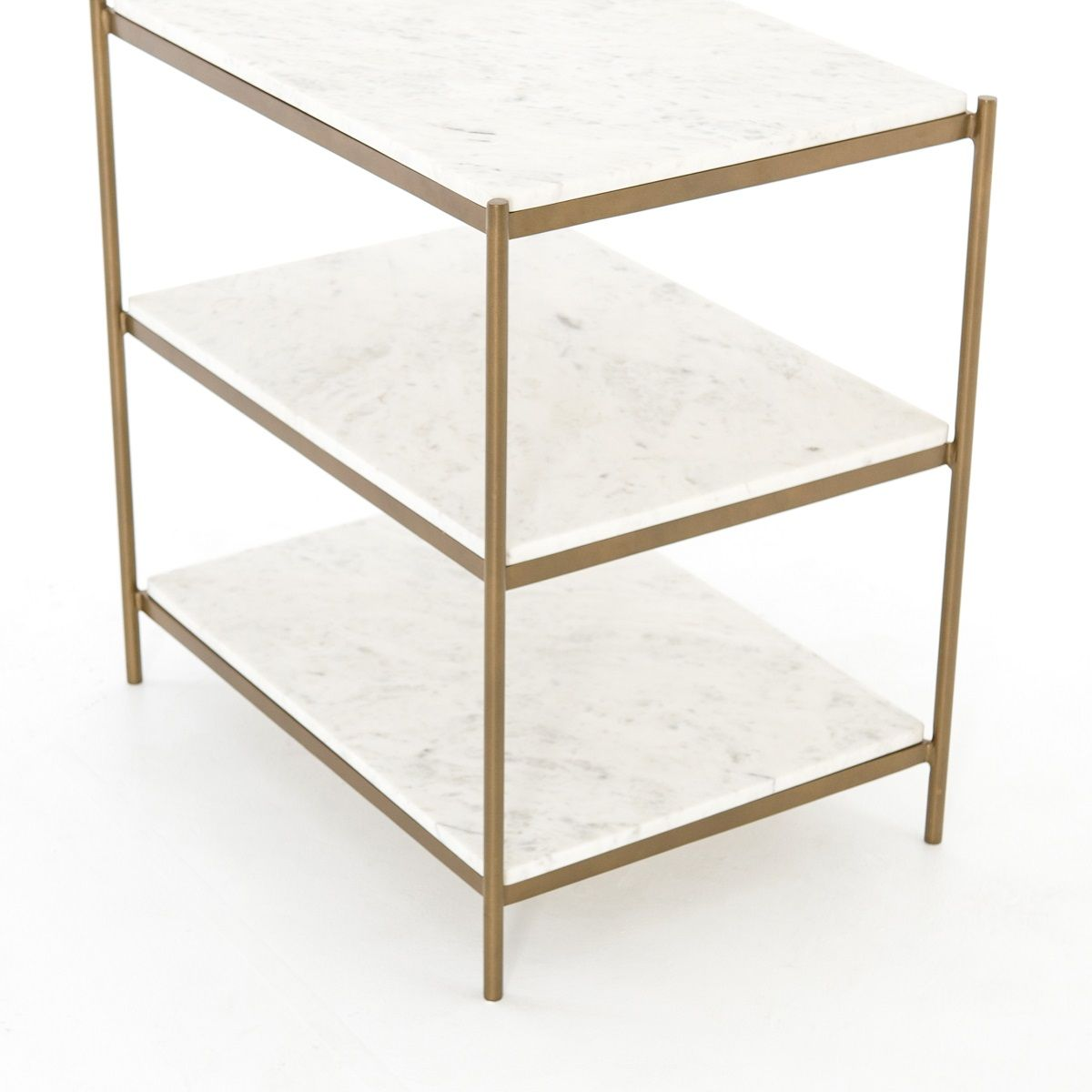 Three Tier White Marble End Table Bedside Table Brass Or Gunmetal Finish The Design Tap