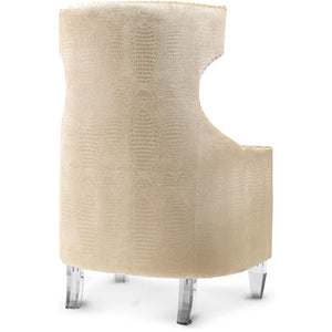 CHAMPAGNE TEXTURED VELVET WING CHAIR