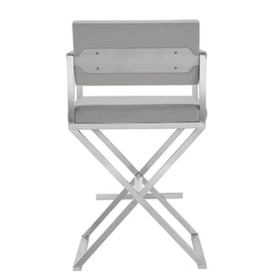 DIRECTOR COUNTER STOOL: GRAY | STAINLESS