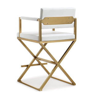 DIRECTOR COUNTER STOOL: WHITE | GOLD