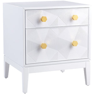 KITZY WHITE LACQUER END TABLE