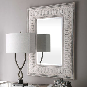 COZETTE AGED WHITE EMBOSSED MIRROR