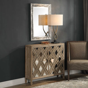 RUSTIC MIRRORED DIAMOND CONSOLE CABINET