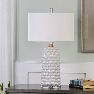 WHITE HONEYCOMB CERAMIC OVAL LAMP