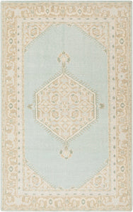ZAHRA HAND-KNOTTED WOOL RUG: SEA FOAM
