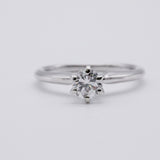 Estate .50cts Diamond 14K White Gold 6 Prong Solitaire Engagement Ring