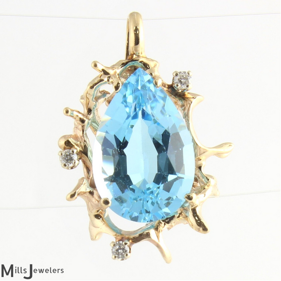 Estate Pear Blue Topaz Diamond 14k Yellow Gold Pendant