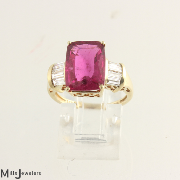 Estate 5.29 Rubellite Tourmaline .56 cts Baguette Diamond 14kt Y/G Cocktail Ring