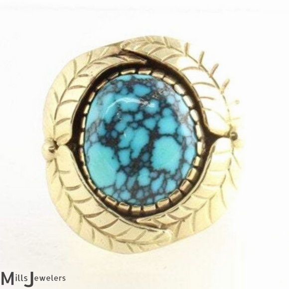Estate 17.10cts Andrew REDHORSE Alvarez Indian Mountain Turquoise 14k Y/G Ring Size 12 1/4