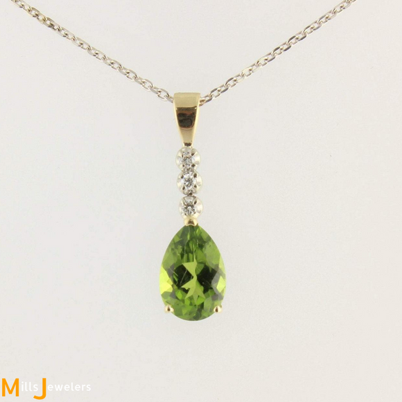 Estate 3.93ct Pear Peridot Diamond 14k White Yellow Gold Pendant Chain 17