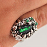 Estate Australian Black Opal and Emerald 18K White Gold Ring