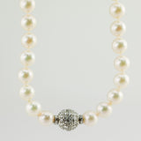Estate Round South Sea Diamond 18K White Gold Pearl Strand