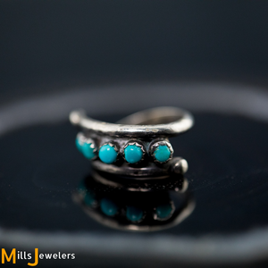 Estate Turquoise 925 Sterling Silver Ring