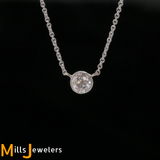 Estate .47cts Mine Cut Diamond 14K Two-Toned Platinum Solitaire Necklace