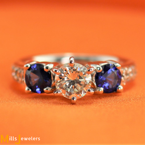 Estate 1.03ctw Diamond .73cts Blue Sapphire 18K White Gold Engagement Ring
