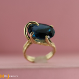 Unique Estate 11.95cts London Blue Topaz 14k Yellow Gold  Saddle Cocktail Ring