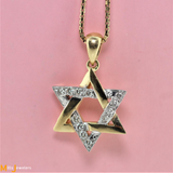 Nice Estate Star of David Diamond 18K Yellow Gold Pendant