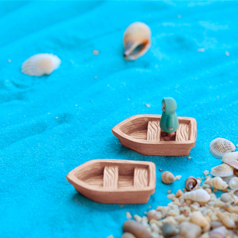 2PC/Set DIY Wood Boat Micro Garden Decoration