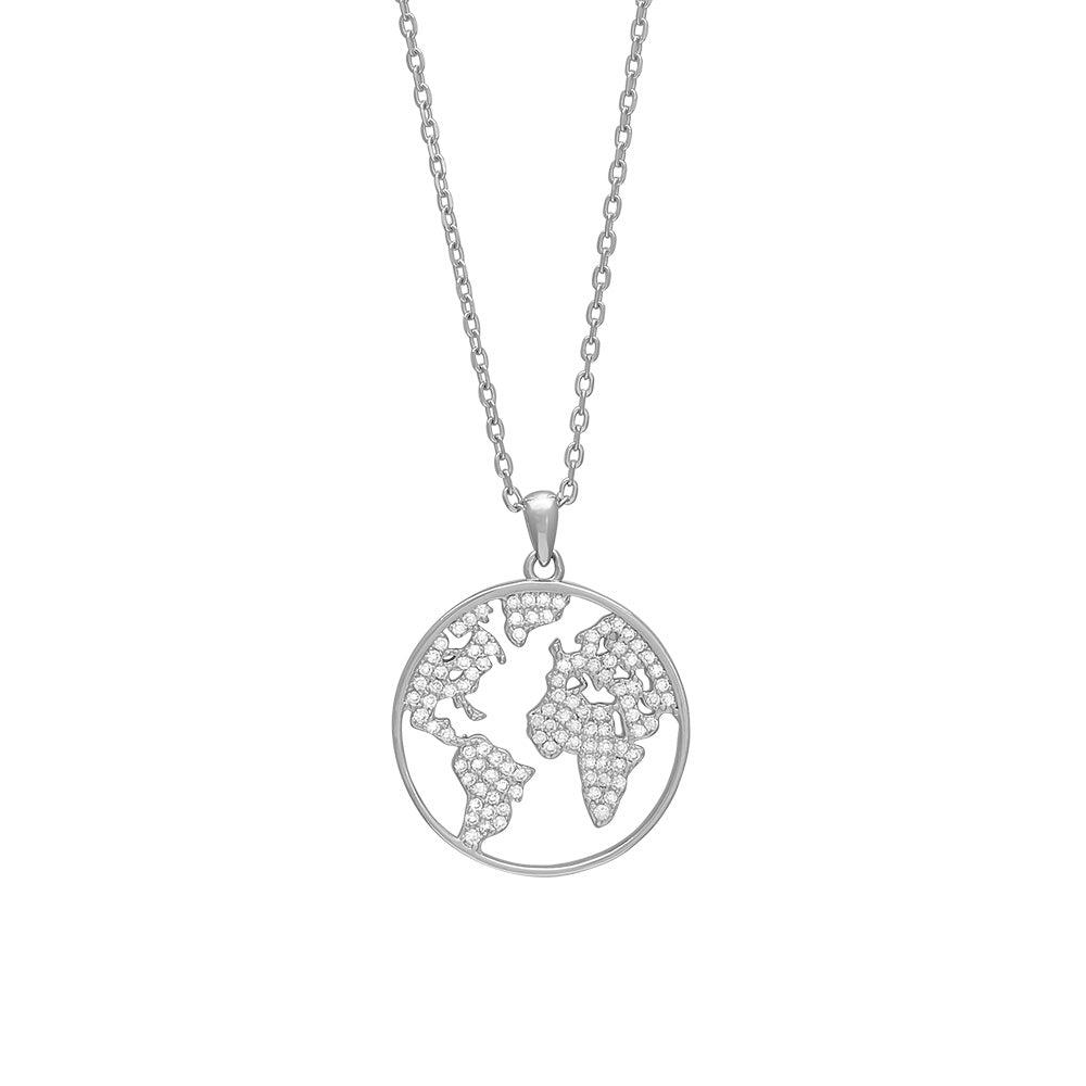Sterling Silver World Pendant