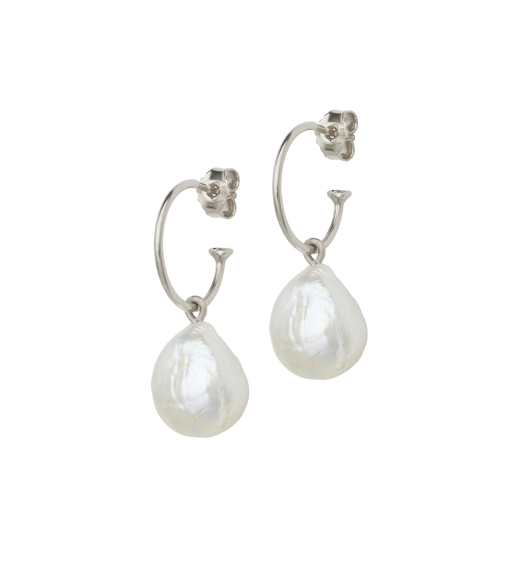 Baroque Pearl Earrings on Silver Creols
