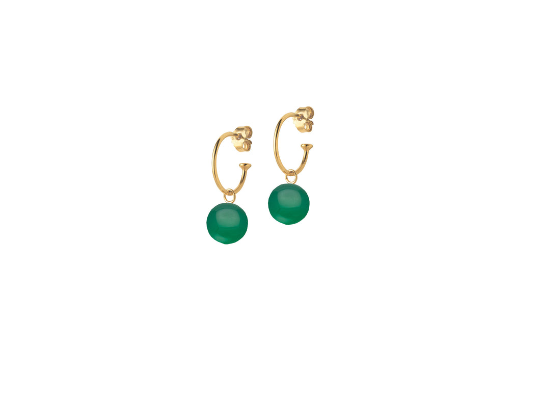 Gold Creole Earrings with Green Agate