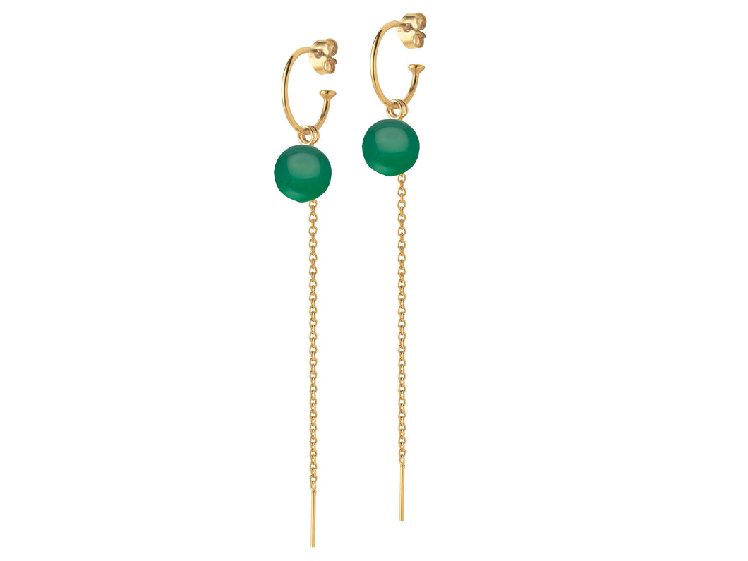 Gold Creole Earrings with chain and Green Agate