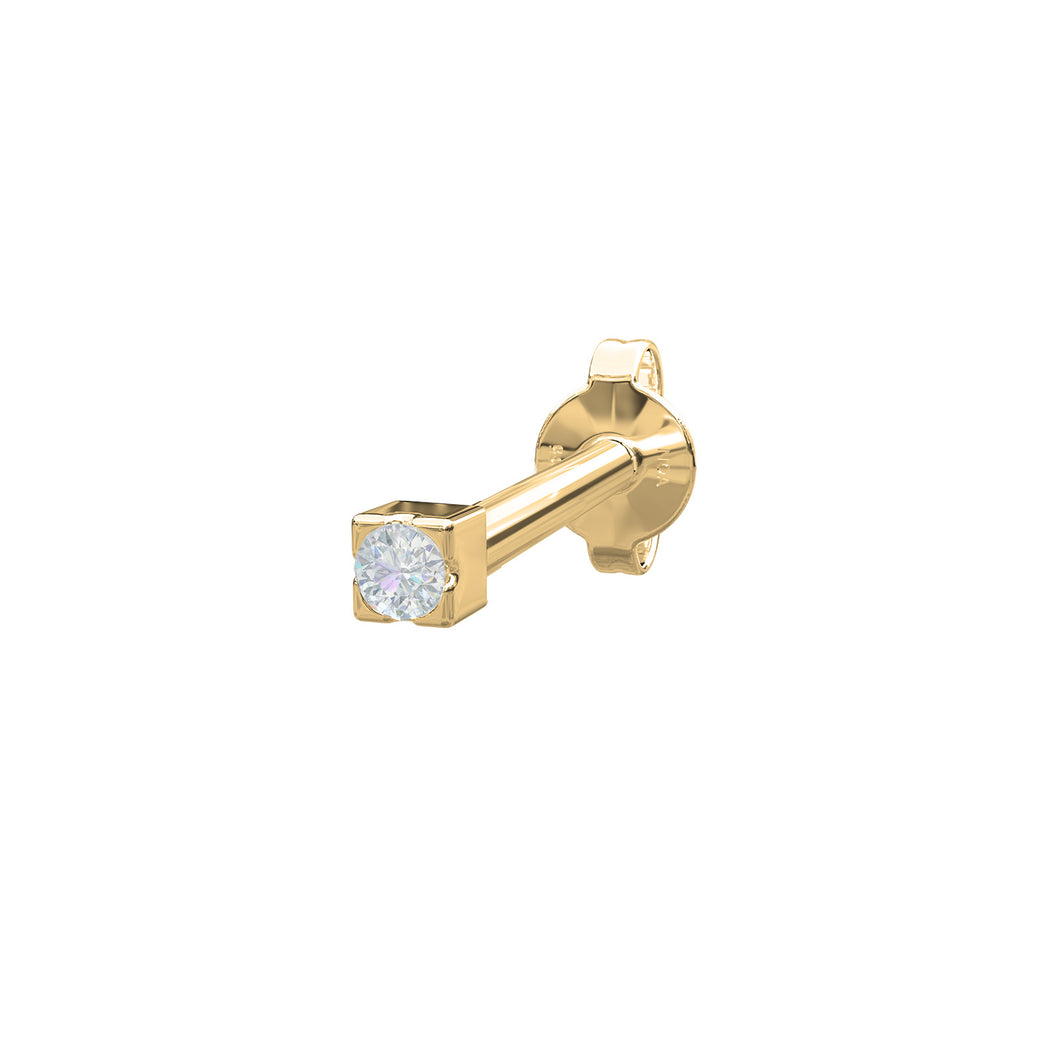 Piercing 14 CT. Gold and Diamond tiny stud with Butterfly